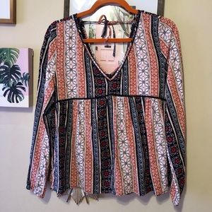 A&F Balloon Sleeve Patterned Shirt